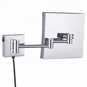Specchio ingranditore quadrato illuminato da parete con specchio ingranditore illuminato da bagno con cornice illuminata a specchio Cromato
