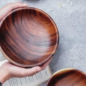 Ciotola di legno massello fatta a mano Grandi piccole rotonde in legno Ciotole Insalata Zuppa da pranzo Ciotole Piatto Utensili da cucina in legno Stoviglie