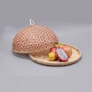 Pane di bambù fatto a mano di vimini del rattan della paglia della frutta dell'alimento di bambù con la salute naturale dell'organizzatore del pane di stoccaggio della cucina del piatto rotondo del coperchio