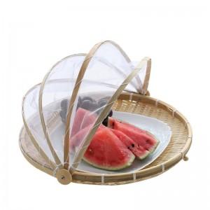 Cesto di vimini fatto a mano in bambù intrecciato a prova di bug Cestino di frutta per picnic antipolvere Alimento per alimenti Coperchio per piatti con garza Panier Osier