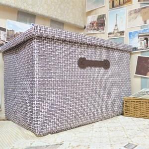 Scatola di immagazzinaggio pieghevole di paglia fatta a mano grande scatola di immagazzinaggio coperta di stoffa cassetto smistamento vestiti Giocattoli Cestino di immagazzinaggio 51cm * 48cm * 31cm