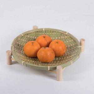 Cestino di frutta di bambù tessuto fatto a mano di vimini paglia organizzatore di pane cibo cucina stoccaggio regalo decorativo piatto piccolo piatto rotondo