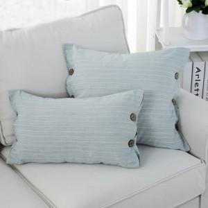 HAO JOY Consiglia Fodera per cuscino reticolare giallo verde Pulsante Fodera per cuscino Federa decorativa per casa stile semplice 45x45cm / 30x50
