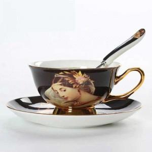 Tazze da caffè in porcellana d'ossa di alta qualità Tazze in ceramica vintage Tazze da tè e piattini avanzati smaltati per regali di lusso