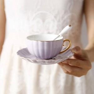 Tazza di caffè Phnom Penh europeo d'ossa di alta qualità Tazza di tè pastorale Pomeriggio Tè in ceramica Tazza di tè nero Piatto Cucchiaio Britannico