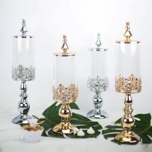 Base in metallo europeo di alta qualità Barattolo di caramelle Decorazione da tavola per dessert da matrimonio Bombole in vetro coperto Biscotto per snack Serbatoio di stoccaggio