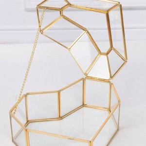 Organizzatore di trucco della decorazione del regalo del mestiere della scatola di immagazzinaggio dei gioielli di vetro della casa del fiore a forma di cuore di alto grado