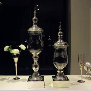 Vasi di caramelle di alta qualità con base in metallo argentato, soffitti alti, portaoggetti in vetro, ornamenti decorativi, vaso per matrimonio