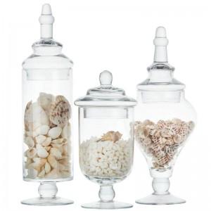 Vaso di caramella di alta qualità in vetro bottiglia di stoccaggio trasparente serbatoio decorazione di cerimonia nuziale set tappo di bottiglia bottiglie per alimenti