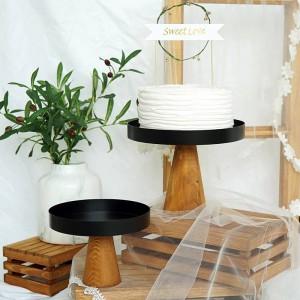 High Stand Piatto da torta in legno Piatti da portata per alimenti creativi Multiuso Eco Naural Dessert in legno / Vassoio di frutta Decorazioni per la casa