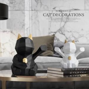 figurina di gatto decorazione domestica per la statua di home office per la decorazione da tavolo ornamenti scrivania scultura geometrica in resina gatto fortunato
