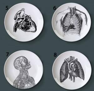 Struttura del corpo umano Piatto decorativo Piatto artistico in ceramica Artigianato Piatto da pittura bianco e nero per il piatto di studio della decorazione domestica
