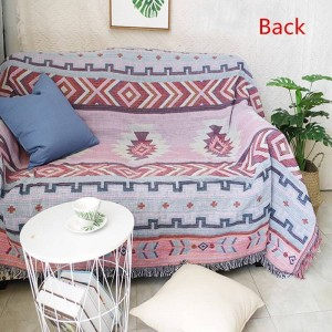 Geometria in stile indiano Coperta da tiro Divano Fodera decorativa Cobertor Aereo Viaggio Vintage Cuciture antiscivolo Coperte per letti