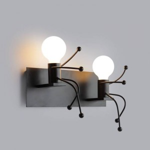 Decorazione per interni Lampada da parete a forma di uomo creativo vintage Lampada da parete a doppia testa Sconce E27 a luce carina Lampada da parete AC 85-240V