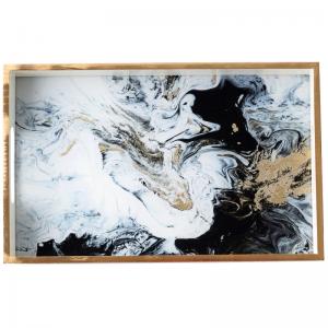 Vassoio da portata in legno in stile artistico Rettangolo in marmo con motivo artistico InsFashion per decorazioni per la casa da tavola in stile americano