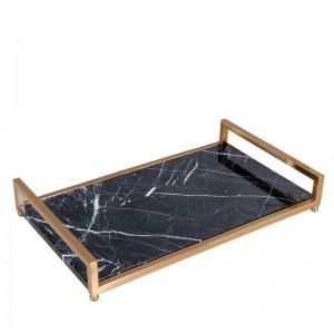 Vassoio da portata InsFashion in marmo nero di alta classe con manico in ottone per vassoio di conservazione cosmetico e per la cura della pelle in stile regale