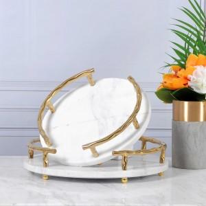 Vassoio da portata InsFashion in marmo naturale bianco di alta classe con manico in oro per uomo ricco e arredamento da hotel a 5 stelle