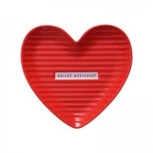 InsFashion delizioso piatto per gioielli in ceramica a forma di cuore rosso e rosa per set regalo per la festa della mamma