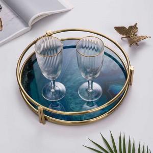 Vassoio di lusso InsFashion in vetro caldo con motivo in agata con stampa 3D e cornice dorata per decorazioni per la casa in stile nordico