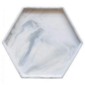 Vassoio in ceramica InsFashion in stile semplice bianco grigio con motivo in marmo esagonale per decorazioni domestiche in stile danese