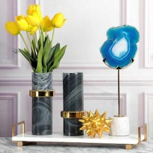 Vassoio da portata in marmo super top InsFashion con manico in ottone per decorazioni domestiche moderne e vassoio portaoggetti