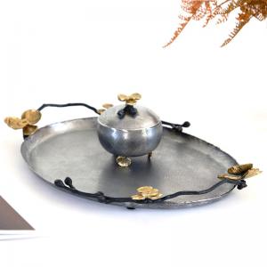 InsFashion vintage ha un vecchio vassoio ovale in rame per l'arredamento del ristorante in stile reale arabo