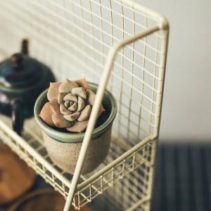 Tavolo doppio ripiano in ferro Scaffale per la tavola Nordic Scandinavia Articoli vari per piante da cucina in metallo Cestino portaoggetti Organizzatore Decorazioni per la casa