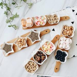 Vassoi per piatti da portata in stile giapponese Piatti in ceramica creativa per snack / frutta a guscio / dessert Vassoio in bambù naturale Eco