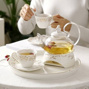 Teiera in ceramica giapponese Set da tè in ceramica Vassoio di frutta Riscaldamento Bicchiere in vetro Elegante tazza da regalo in ceramica