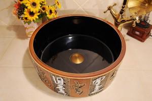Lavabo in ceramica Lavabo bagno Lavabo balcone Lavabo intagliato Lavelli bagno marrone