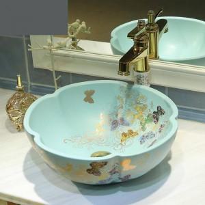 Lavabo bagno in ceramica Lavabo Art Lavabo opaco verde chiaro Lavelli bagno con motivo farfalla dorato fiore