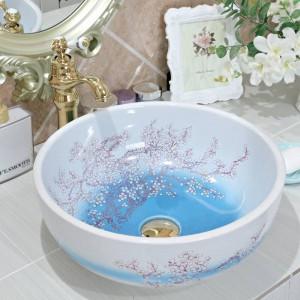 sanitari in ceramica arte contatore lavabo lavabo lavabo lavandino Lavabo bagno lavelli in ceramica prugna fiore