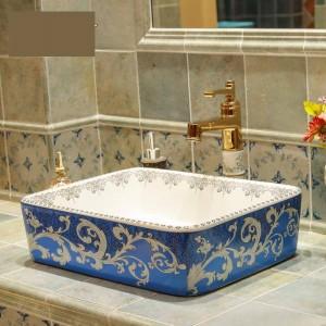 Lavabo in ceramica Lavabo in ceramica Lavamani Lavamani Lavandino Lavelli bagno ciotola rettangolare