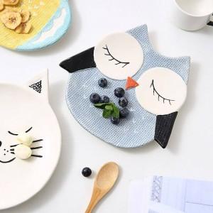 Piatto per bambini Snack Tray Piatto da dessert Cartone animato Animale Piatti in porcellana Volpe / gatto / gufo / pulcino Simpatico piatto