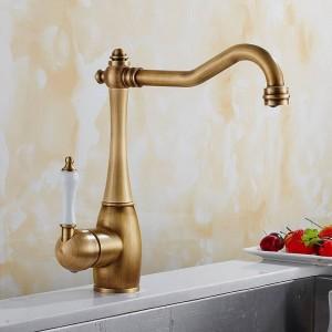 Rubinetto della cucina Antico rubinetto in porcellana spazzolata Rubinetto Miscelatore per lavabo con miscelatore a freddo caldo Rubinetto di lusso 360 Girevole 9070S