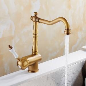 Rubinetto della cucina Antico rubinetto in porcellana spazzolata Rubinetto Miscelatore per lavabo con miscelatore a freddo caldo Rubinetto di lusso 360 Girevole 9087A