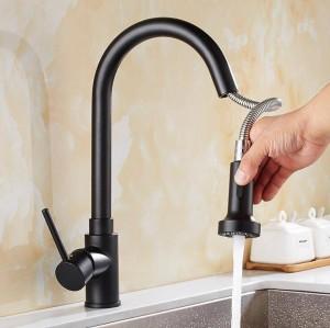 Rubinetto della cucina Miscelatore monocomando Foro estraibile Lavello in ottone Miscelatore rubinetto miscelatore Rubinetti per acqua calda fredda Torneira Cozinha LAD-116