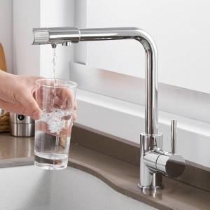 Rubinetti da cucina Mount Deck Purify Miscelatore Rotazione a 360 gradi con purificazione dell'acqua Gru a foro singolo per cucina LAD-0185