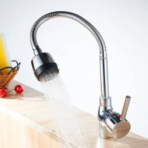 Rubinetti da cucina Miscelatore da cucina argento monocomando Rubinetto da cucina freddo e caldo Rubinetto per acqua monoforo Torneira cozin Crane YC-CF2086