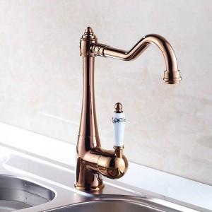 Rubinetti da cucina monocomando monoforo lavello da cucina rubinetto girevole bocca in ceramica cromo miscelatore in ottone rubinetti per acqua HJ-7801