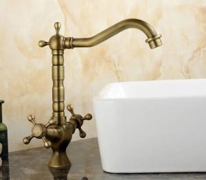 Lavello da cucina Lavabo bagno Miscelatore rubinetto Miscelatore doppio comando con finitura ottone anticato