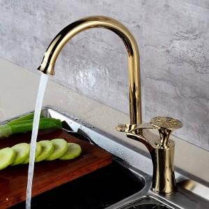 Ktichen rubinetto di lusso in ottone dorato alto arco cucina lavelli rubinetti miscelatore monocomando girevole lavabo lavabo miscelatore acqua DL-8105