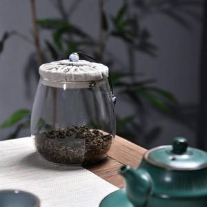Lattine per tè in vetro senza piombo Copertura in stoffa creativa Coperchio in legno per frutta secca multicereali Lattine sigillate Barattolo di tè per fiori Regalo per barattolo di tè