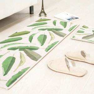 Motivo a foglie MAT Cuscino quadrato Cuscinetto per porta della cucina Bagno Antiscivolo Rimuovere la polvere Tappetini per porte Tavolino da salotto Moquette Tappeti per tappeti