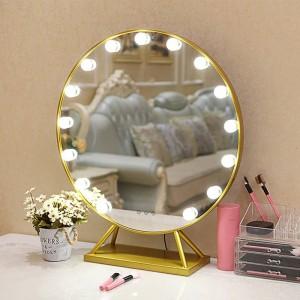 Specchio per trucco a LED rotondo con base Specchio da terra per la casa in stile nordico con specchio decorativo con luci mx12291738