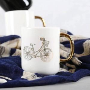 Lekoch 350ml Tazza da caffè in ceramica bianca nera solida Divertente bicicletta Placcatura in oro Tazze da viaggio Tè Tazza da latte Tazza da ufficio per casa Coppia
