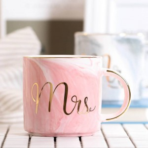 Lekoch 380ml Tazza da caffè in marmo Tazza da viaggio Tazza da caffè Tazze da tè al latte Creative Mr and Mrs Tazze Decorazioni per la colazione con intarsi in oro rosa