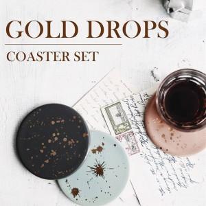 Lekoch 4Pcs Motivo a punti in ceramica color oro Resistente al calore Tovaglietta Tazza Stuoie Tazza da caffè Sottobicchieri Cuscino Tazza Serventi