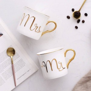 Tazza da caffè in ceramica Lekoch Bone Colori grigio rosa Tazza da viaggio Mr and Mrs Modello bianco Manico in oro Tazze da latte e tazze da regalo