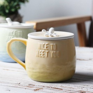 Lekoch Creativo Cartoon Tazza da caffè in ceramica 360ml Tazze di trippa 3D con coperchio Impugnatura Animale da mare Divertente Colore sfumato Tazza da tè al latte